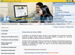 Tela do site da Previdência